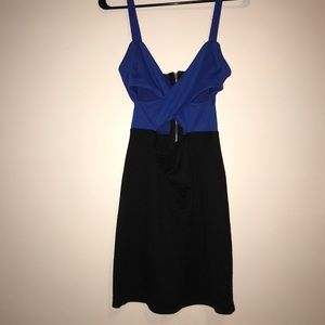 Blue and black dress with cut outs